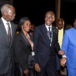 R-L: Lagos State Governor, Mr. Akinwunmi Ambode (right); President, Nigerian Bar Association (NBA), Mr. Abubakar Balarabe Mahmoud, SAN and his wife, Justice Patricia Mahmoud and representative of the Vice President & Minister of Works, Power & Housing, Mr. Babatunde Fashola, SAN