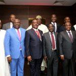 L-R: Governor Abdullahi Umar Ganduje of Kano State; Governor Akinwunmi Ambode of Lagos State; Governor Nyesom Wike of Rivers State; Governor Simon Lalong of Plateau State; Governor Aminu Tambuwal of Sokoto State; Governor Rotimi Akeredolu of Ondo State. Behind them are Governor Mohammed Abubakar of Bauchi State (2nd left); President, Nigerian Bar Association (NBA), Mr. Abubakar Balarabe Mahmoud, SAN (middle); President, Dangote Group, Alhaji Aliko Dangote (2nd right) and Managing Director/C.E.O, Access Bank Plc, Mr. Herbert Wigwe (right).