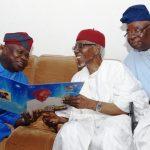 L-R: Lagos State Governor, Mr. Akinwunmi Ambode (2nd right), with the celebrant, Alhaji Hassan Fasinro and APC Party Chieftain, Chief Lanre Razaq