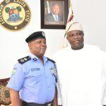 R-L: Lagos State Governor, Mr. Akinwunmi Ambode; outgoing Commissioner of Police, Mr. Fatai Owoseni and new Commissioner of Police, Lagos, Mr. Imohimi Edgal