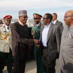President Muhammadu Buhari, Minister of Interior Lt General Abdurahaman Dambazau, NAS Major General Babagana Monguno and others as Pressident Muhammadu Buhari departs JFK Airport