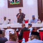 L-R; President Muhammadu Buhari, National Chairan of APC, Chief John Odigie-Oyegun, President of the Senate  Bukola Saraki and APC Chieftain Bisi Akande and others