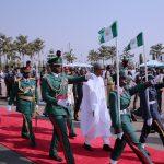 President Muhammadu Buhari inspecting guard brigade parade