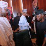 President Muhammadu Buhari (M) flanked by Vice President Yemi Osinbajo and SGF, Mr. Boss Mustapha