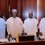 L-R; FCT Minister Alhaji Muhammad Musa Bello, Kogi State Governor, Alhaji Yahaya Bello and Kebbi State Governor, Senator Atiku Bagudu