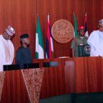 R-L; President Muhammadu Buhari, Vice President Yemi Osinbajo and SGF, Mr. Boss Mustapha