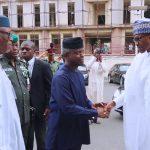 R-L;  President Muhammadu Buhari, Vice President Yemi Osinbajo and APC National Chairman John Odigie Oyegun