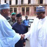 R-L;  President Muhammadu Buhari, Vice President Yemi Osinbajo and President of the Senate Dr Bukola Saraki