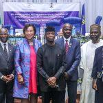 Vice President Yemi Osinbajo, with Sec. Gen. Commonwealth, Rt. Hon. Baroness Patricia (1st left); Former President of South Africa, H.E. Thabo Mbeki (2nd Left); Fmr Head of State, Gen Abdulsalami Abubakar (3rd Left); Ag. Chairman EFCC, Ibrahim Magu (1st Right); Fmr Head of State, Gen. Yakubu Gowon (2nd Right) and other members of the African commonwealth delegation.