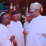 R-L; President Muhammadu Buhari Chats with Senator Godswill Akpabio and Senator Ita Enang