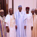 President Muhammadu Buhari (M) flanked by the Chief of Staff, Mallam Abba Kyari, Former Chief Justice of Nigeria, Hon Justice Alfa Belgore, Hon Justice Olukayode Arowolo, Former Chief Justice of Nigeria, Hon Justice Idris Kutigi