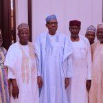 President Muhammadu Buhari (M) flanked by the Chief of Staff, Mallam Abba Kyari, Former Chief Justice of Nigeria, Hon Justice Alfa Belgore, Hon Justice Olukayode Ariwoola, Former Chief Justice of Nigeria, Hon Justice Idris Kutigi