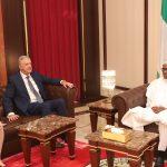 President Muhammadu Buhari receives the The Neterlands Ambassador to Nigeria, Mr Robert J. Petri and wife