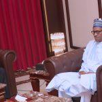 President Muhammadu Buhari chats with the New Ambassador of the Republic of Congo to Nigeria, Mr Jacques Obindza