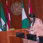 L-R; President Muhammadu Buhari, The Chairperson of the Conference of Nigeria Female Parliamentarians (CONPEPA), RT Hon Elizabeth Ative, Welfare Officer, Hon Uju Onwudiwe and others