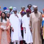 President Muhammadu Buhari (M) Flanked by The Chairperson of the Conference of Nigeria Female Parliamentarians (CONPEPA), RT Hon Elizabeth Ative, Chief of Staff Mallam Abba Kyari, SGF Mr Boss Mustapha, ICT Manager, Hon Maria Ude. Others are Welfare Officer, Hon Uju Onwudiwe, Hon Mariam Garba Bagel, PRO, Rt Hon Ngunan Addingi, Hon Blessing Okwuchi Nwagba, Hon Justina Obadiah Nkom and others