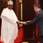 President Muhammadu Buhari receives letter of credence from the Ambassador of Lebanon, Houssam Diab