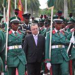 The New Ambassador, Republic of Serbia to Nigeria, Mr Djura Likar inspects parade of Nigerian Army Guards Brigade unit