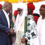 Hon. Minister of Power, Works & Housing, Mr Babatunde Fashola,SAN (left),Deputy Governor of Kano State, Prof. Hafizu Abubakar (right) and Emir of Kano, Sanusi Lamido (middle)