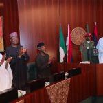 R-L; President Muhammadu Buhari, Vice President Yemi Osinbajo, SGF, Mr. Boss Mustapha and Chief of Staff, Mallam Abba Kyari