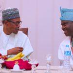 Muhammadu Buhari chats with Ooni of Ife Oba Adeyeye Ogunwusi