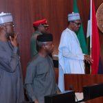 R-L; President Muhammadu Buhari, Vice President Yemi Osinbajo and SGF Mr. Boss Mustapha