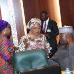 R-L; SGF Mr Boss Mustapha, Permanent Secretary Office of the SGF, Ms Georgina Ehuriah and Head of Civil Service, Mrs Winifred Oyo-Ita