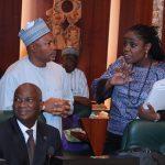 L-R; State House Permanent Secretary Alhaji Jalala Arabi, Minister of Finance, Mrs Kemi Adeosun and Minister of Power, Works and Housing, Babatunde Fashola