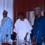 L-R; President Muhammadu Buhari, Chief of Staff, Mallam Abba Kyari, SGF Mr. Boss Mustapha and Minister of Finance, Mrs Kemi Adeosun 18.