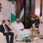 President Muhammadu Buhari, Nigerian Minister of Information Alhaji Lai Mohammed and the Secretary-General UN World Tourism Organisation, Mr. Zurab Pololikashvili
