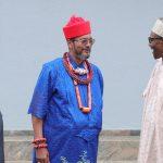 President Muhammadu Buhari Chats with Olorogun Oscar Ibru and Mr Festus Kayemo SAN