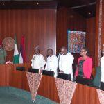 "L-R; President Muhammadu Buhari, Senator Abdul-Aziz Nyako, Hon Tony Nwulu (Sponsor of the Bill ""Not Too Young To Run Bill), Mr Samson Itodo and Miss Cynthia Mbamalu"