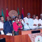 "President Muhammadu Buhari (M) flanked by the youngseters among whom are Senator Abdul-Aziz Nyako, Hon Tony Nwulu (Sponsor of the Bill ""Not Too Young To Run Bill""), Mr. Samson Itodo"