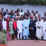 "President Muhammadu Buhari (M) flanked by the youngseters among whom are Senator Abdul-Aziz Nyako, Hon Tony Nwulu (Sponsor of the Bill ""Not Too Young To Run Bill), Mr. Samson Itodo"