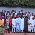 "President Muhammadu Buhari (M) flanked by Chief of Staff, Mallam Abba Kyari, SGF Mr. Boss Mustapha,  the youngsters among whom are Senator Abdul-Aziz Nyako, Hon Tony Nwulu (Sponsor of the Bill ""Not Too Young To Run Bill), Mr. Samson Itodo"