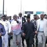 Vice President, Prof. Yemi Osinbajo (middle); Lagos State Governor, Mr. Akinwunmi Ambode (3rd left); Flag Officer Commanding, Western Naval Command, Rear Admiral Sylvanus Abah (2nd left); Commander, NNS Beecroft Apapa, Commodore Okon Edet (left); Minister of Transportation, Mr. Rotimi Amaechi (2nd right); Co-founder/Executive Director, Sahara Group, Mr. Tonye Cole (2nd right) and Managing Director, Nigerian Ports Authority (NPA), Hadiya Hadiza Bala Usman (right)