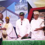 L-R: Lagos State Governor, Mr. Akinwunmi Ambode; Commissioner for Information & Strategy, Mr. Kehinde Bamigbetan; Senator Gbenga Ashafa; Deputy Speaker, Lagos State House of Assembly, Hon. Wasiu Eshinlokun Sanni and Party Chietain, Dr. Tola Kasali