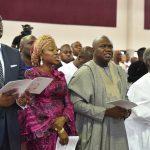 (R-L): Vice President, Prof. Yemi Osinbajo; Lagos State Governor, Mr. Akinwunmi Ambode; his wife Bolanle and Pastor Trevor Akindele