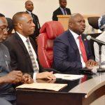 Lagos State Governor, Mr. Akinwunmi Ambode (2nd right); Managing Director, Nigeria Port Authority (NPA), Hadiya Hadiza Bala Usman (right); Commissioner for Transportation, Mr. Ladi Lawanson (left) and Secretary to the State Government, Mr. Tunji Bello (2nd left)