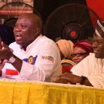 Lagos State Governor, Mr. Akinwunmi Ambode (middle); Deputy Governor, Dr. (Mrs) Oluranti Adebule (left) and State Chairman, All Progressives Congress (APC) Lagos, Alhaji Tunde Balogun (right)