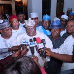 Senate Majority Leader Sen Ahamd Lawal flanked by Sen Uchendu  Andrews, Senator Hope Uzodima and others
