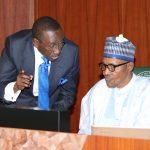 NSA Major General Babagana Munguno confers with President Muhammadu Buhari