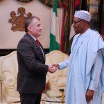 R-L;  President Muhammadu Buhari receives the outgoing Ambassador of Belarus to Nigeria, Mr. Vyacheslav Beskosty