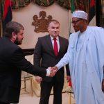 R-L;  President Muhammadu Buhari, the outgoing Ambassador of Belarus to Nigeria, Mr. Vyacheslav Beskosty and Political Affairs of Belarus Embassy, Mr. Konstantin Ignatkovich