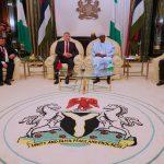 R-L; Minister of Foreign Affairs, Mr. Geoffrey Onyeama, President Muhammadu Buhari, the outgoing Ambassador of Belarus to Nigeria, Mr. Vyacheslav Beskosty and Political Affairs of Belarus Embassy, Mr. Konstantin Ignatkovich
