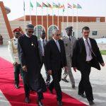 L-R; President Muhammadu Buhari accompanied by the Mauritanian Prime Minister Yahya Ould Hademineon as he departs Mauritania to Abuja