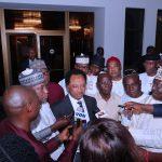 Senator Shehu Sani flanked by APC National Chairman, Comrade Adams Oshiomhole and others