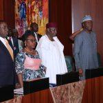 R-L; Acting President Yemi Osinbajo, SGF Mr. Boss Mustapha, Chef of Staff, Mallam Abba Kyari, Head of Civil Service  of the Federation, Mrs Winifred Oyo-Ita and NSA, Major General Babagana Munguno