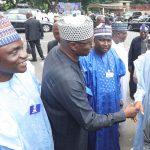 R-L;  President Muhammadu Buhari, SGF, Mr. Boss Mustapha, APC National Secertary Mallam Mai Buni and others