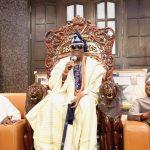 R-L: Speaker, Lagos State House of Assembly, Rt. Hon. Mudashiru Obasa; Oba of Lagos, Oba Rilwan Akiolu; and Speaker, Kebbi State House of Assembly and Chairman, Conference of Speakers of State Legislature, Rt. Hon. Ismaila Kamba